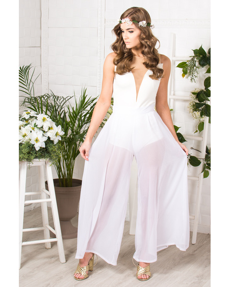 WHITE CHIFFON TROUSERS
