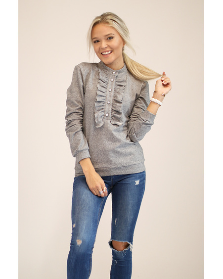 FRILL SWEATER GREY