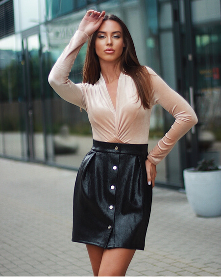 TD POPPER TULIP SKIRT BLACK LEATHER