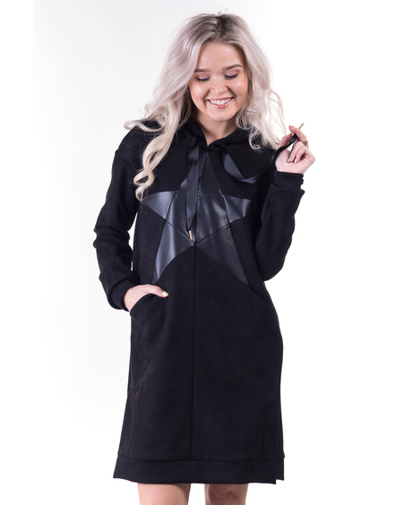BLACK STAR SUEDE HOODED DRESS