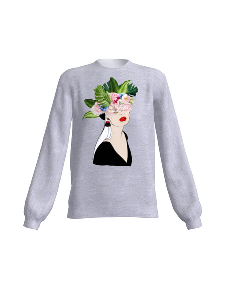 FLORAL HEAD SWEATSHIRT LIGHT GREY
