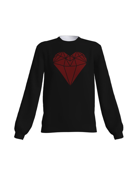 RED HEART SWEATSHIRT BLACK