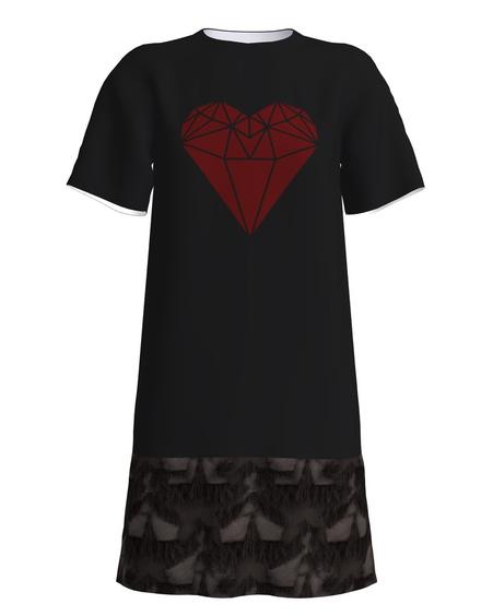 RED HEART FRINGE PRINT SHIRTDRESS BLACK