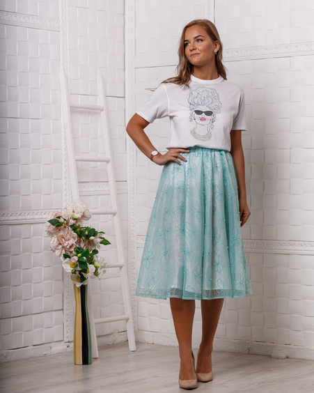 MINT PEARL MIDI SKIRT