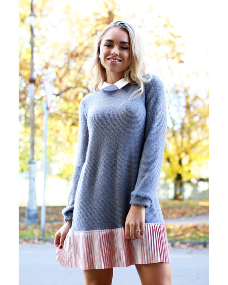GREY KNIT FRILL DRESS