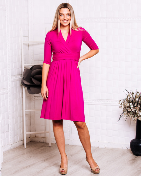 FUCHSIA ELEGANT MIDI DRESS