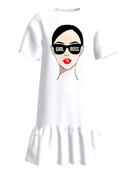 GIRL BOSS FRILL DRESS WHITE