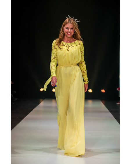 YELLOW LACE WIDE LEG JUMPSUIT