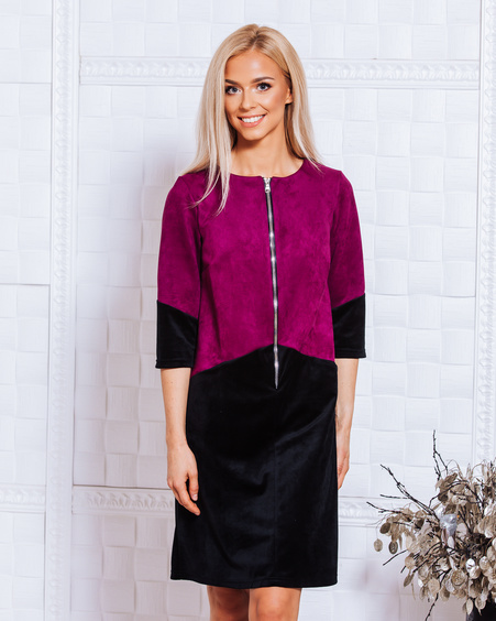 PURPLE BLACK VELVET ZIPPER DRESS