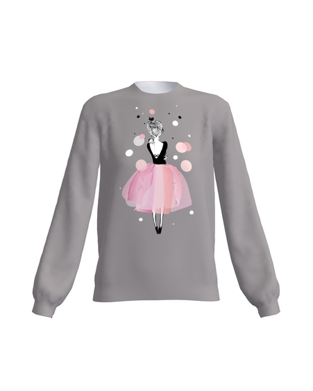 GREY PINK GIRL SWEATER