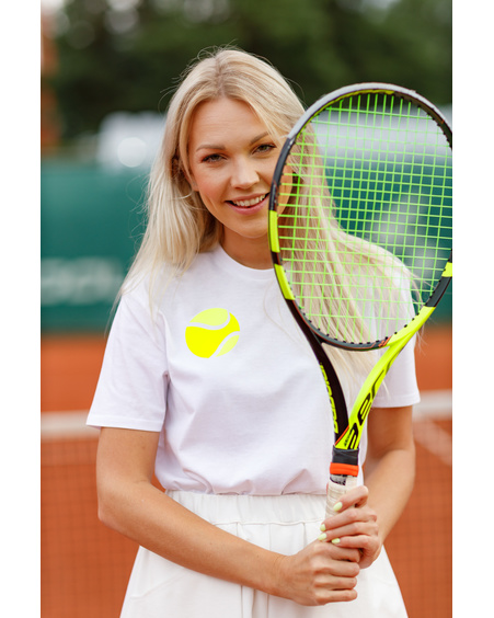 WHITE TENNIS PRINT T SHIRT
