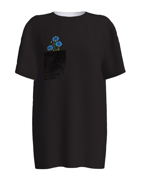 BLACK CORN FLOWERS PRINT T SHIRT
