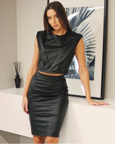 BODYCON LEATHER SKIRT BLACK