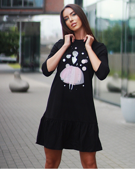 PINK GIRL PRINT DRESS BLACK
