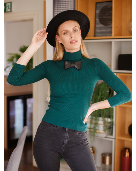 KNIT BOW PULLOVER GREEN