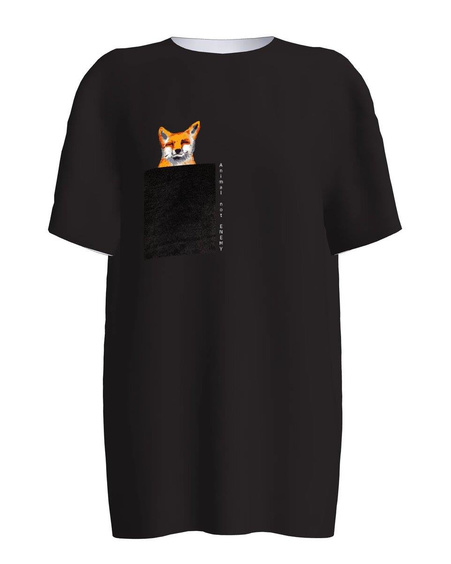 ANIMAL NOT ENEMY POCKET BLACK PRINT T SHIRT