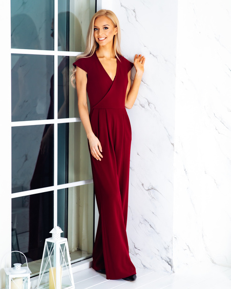 WRAP RAGLAN JUMPSUIT BORDEAUX
