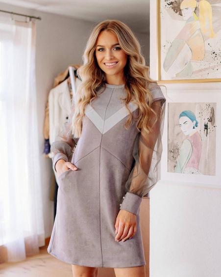GREY STRIPE TRIANGLE MESH SLEEVE PLUM DRESS