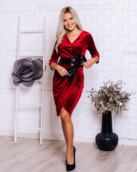 DRAP DRESS VELVET RED